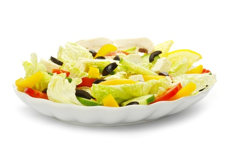 good cholesterol:  salad in plate on white