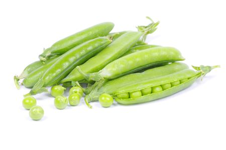green peas vegetable closeup isolated on white photo