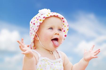 little girl surprised: Portrait of happy baby girl