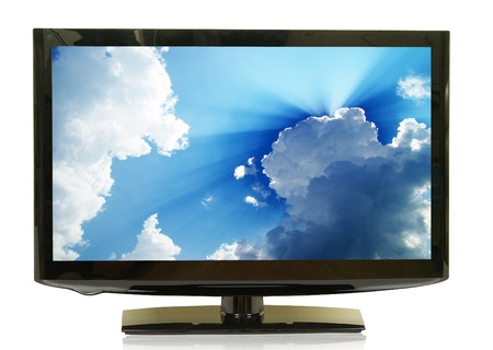 hdtv: frontal view of widescreen lcd monitor isolated on white Stock Photo
