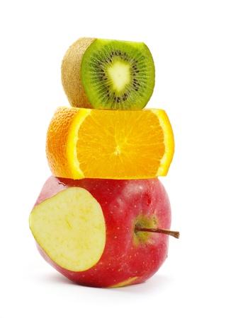 mixed fruit  isolated on white photo