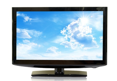 hd tv: frontal view of widescreen lcd monitor isolated on white Stock Photo