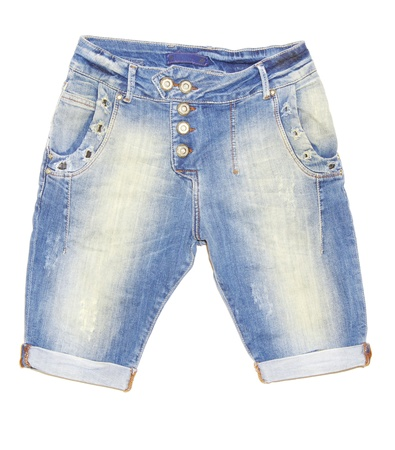 clothes interesting: Blue jeans shorts isolated on the white background