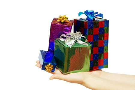 christmas gift in hands isolated on white photo