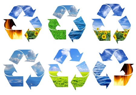 environment conceptual recycling symbol isolated on white photo