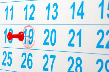 Red circle on a calendar concept for an important day Stock Photo - 10942358