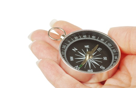 Compass in a hand isolated on the white photo