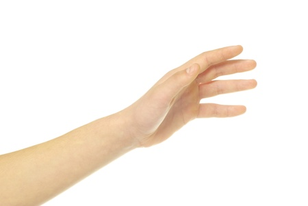 human hand take over on white white background Stock Photo