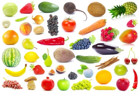 fruits and vegetable isolated on white background photo