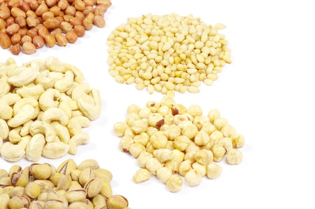 various nuts on a white background Stock Photo - 10942327