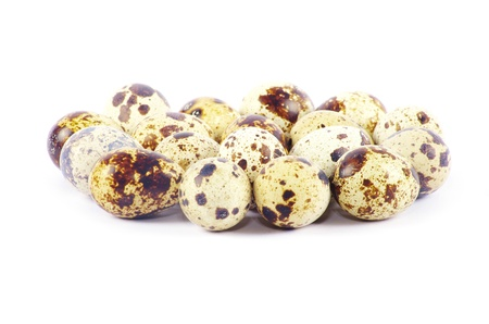 riboflavin: quail eggs in isolated on white background Stock Photo