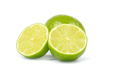 Fresh ripe lime isolated on white background photo