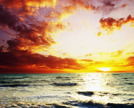 Fantastic sunset over the sea   photo