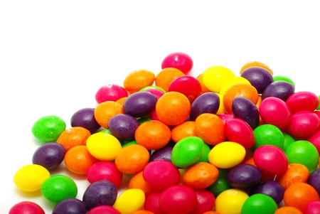 dragee: Set of sweet dragees of different color on white background Stock Photo