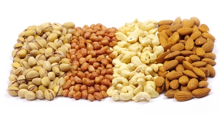 various nuts on a white background photo