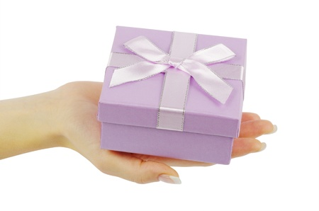 gift in hands isolated on white background photo