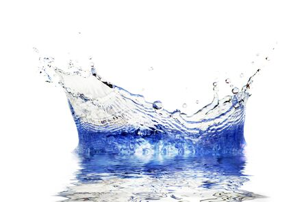 Sparks of blue water on a white background photo