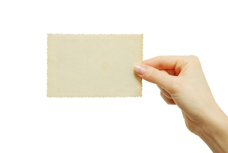 card blank in a hand on white photo