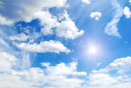 precipitation: blue sky background with tiny clouds Stock Photo