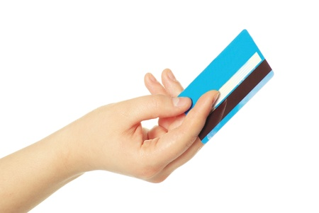 hand holding credit card isolated on white Stock Photo - 12363641