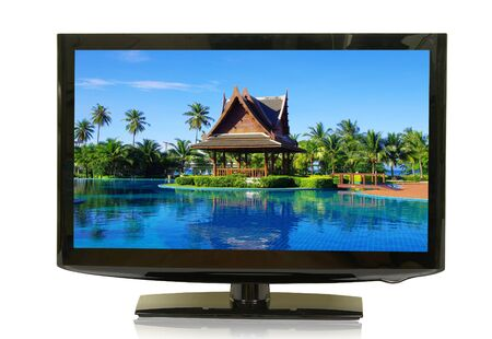 frontal view: frontal view of widescreen lcd monitor isolated on white Stock Photo