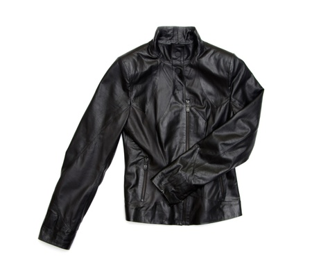 black leather jacket isolated on white background photo