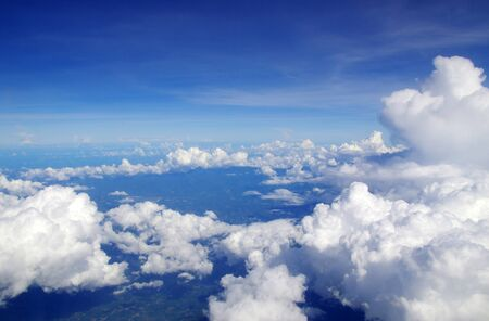 sky clouds: blue sky with clouds and sun