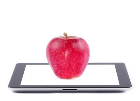 Pantalla táctil de Tablet PC con pantalla en blanco aislado en blanco