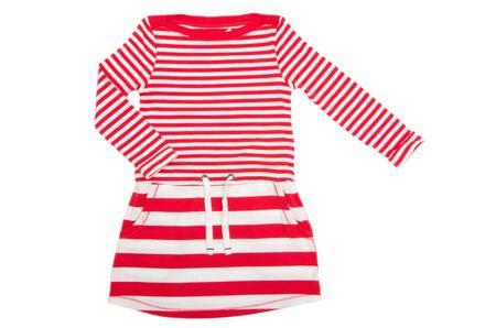 ropa de verano: vestir para ni�a sobre fondo blanco