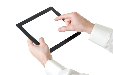 hands with tablet computer on white Stock Photo