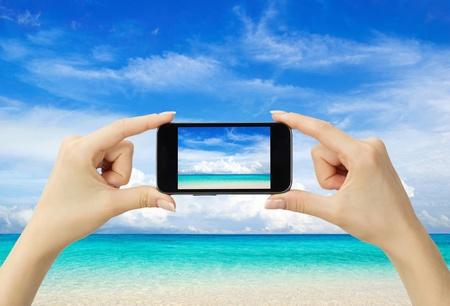 beautiful beach and tropical sea photo