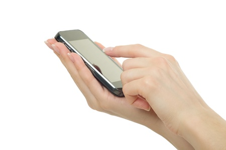 Hand holding mobile phone with blank screen photo