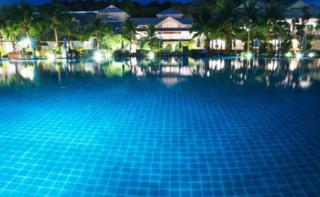 swimming pool in night illumination