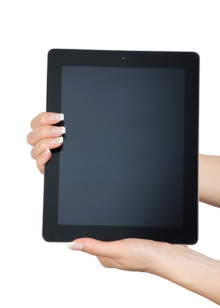 computer message: tablet computer in a hand