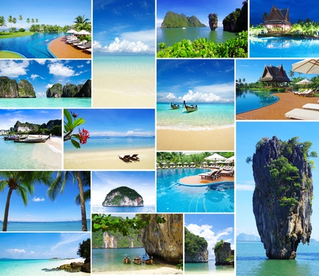 collage travel: Collage of summer beach images beach and tropical sea Stock Photo