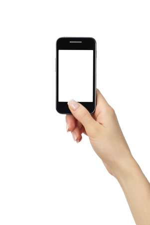 Hand holding mobile smart phone with blank screen photo