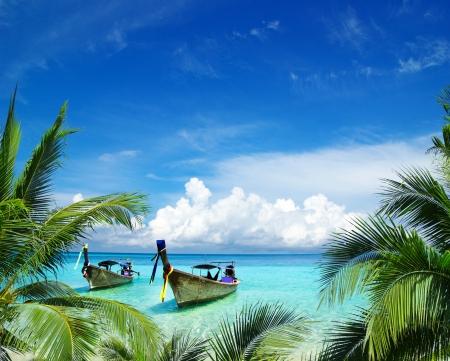 tropical island: beautiful beach and tropical sea Stock Photo