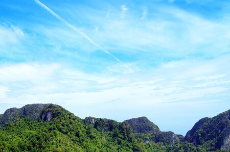 atmospheric: Tropical Mountain with blue sky