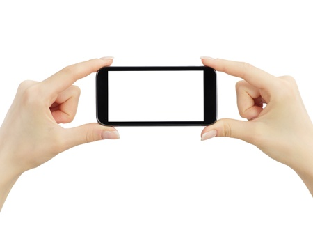 snapping fingers: Hand holding big touchscreen smart phone