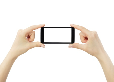 taking video: Hand holding big touchscreen smart phone