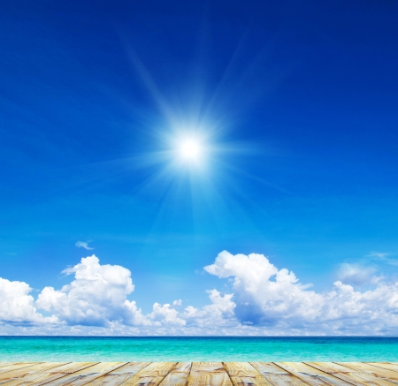 sunny sky: beautiful beach and tropical sea Stock Photo