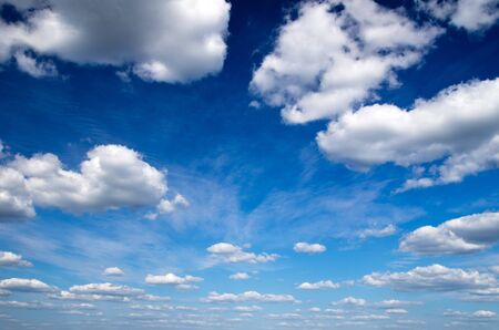 sky and clouds: blue sky with clouds closeup Stock Photo