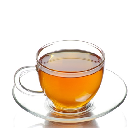 tea hot drink: tea in cup isolated on white background Stock Photo