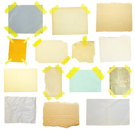 collection of old note paper on white background. photo