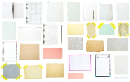 collection of old note paper on white background. Stock Photo - 16105363