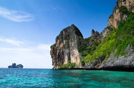 crag: rocks and sea in Krabi Thsiland Stock Photo