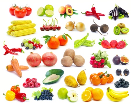 fruits and vegetable isolated on white background Stock Photo - 16105092