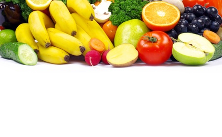 vegetables and fruits on white photo