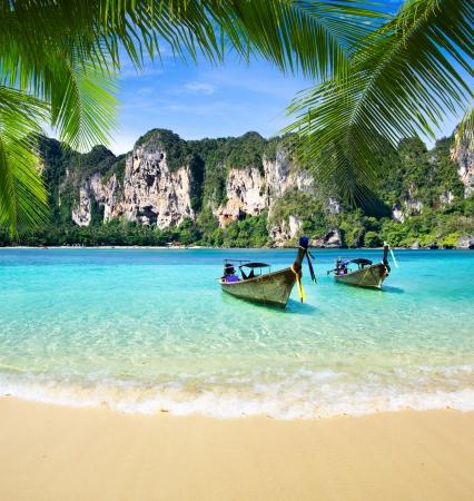 krabi: Spiaggia tropicale, mare delle Andamane, Thailandia