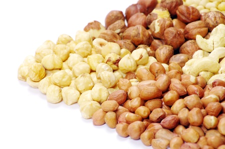 mixed nuts on a white Stock Photo - 17463522